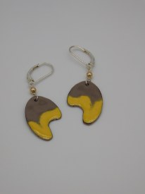 Copper Enamel Yellow/Gray Earrings