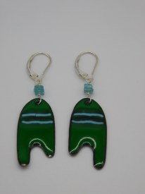 Copper Enamel Green/Blue Earrings