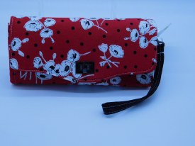 Wallet Red Blk Wht Flrl W1041