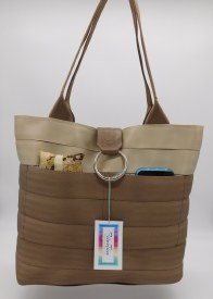 Seat Belt Purse - Tan/Medium Brown Large