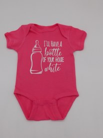 House White Onesie 6 mo Hot Pink