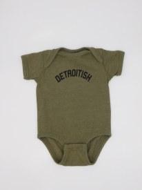 Onsie Detroitish Grn 6 Mo Oliv