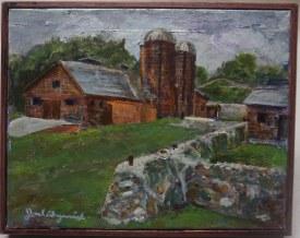 Framed Original Oil and Acrylic Plein Air Painting of Van Hoosen Farm