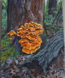 """Framed Original Oil and Acrylic Plein Air Painting """"Chicken In the Woods"""""""