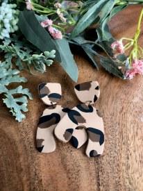 Polymer Clay earrings Big Leopard print