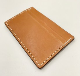 Handmade Leather 4 Card Holder Tan/White