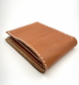 Handmade Leather Bifold Wallet Tan/White