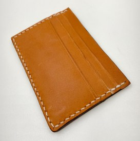 Handmade Leather 3 Card Holder Tan/White