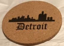 "Cork Coaster  Detroit 4"" Round"