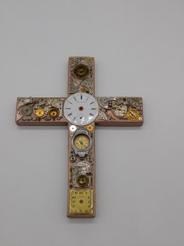 Watch Parts On Wood Cross
