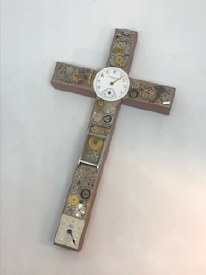 Watch Part Wood Cross Silver