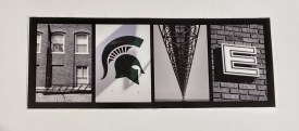 "Sticker Love MSU   1.75"" x 4.75""       3/$8"