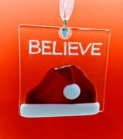 "Fused Glass Santa ""Believe"""