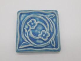 Floral Swirl Tile 4 inch X4 inch Freshwater Blu