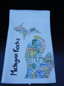 """Towel MI Typogrophy """"Michigan Rocks"""""""