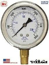 0-3000 PSI Pressure Gauge, Bottom Mount, SS