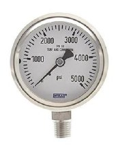 0-5000 PSI Pressure Gauge, Bottom Mount, SS