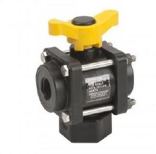 3/4in FPT Banjo 3-Way Ball Valve, Bottom Load, Poly