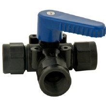 1/2in FPT 3-Way Ball Valve, Poly