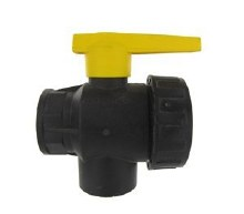 3/4in FPT 3-Way Hypro Ball Valve, Side Load, Standard, Poly
