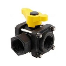 1in FPT Banjo 3-Way Ball Valve, Side Load, Poly