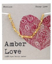 AMBER LOVE -Children's Necklace Baltic Amber - Honey Love 33cm