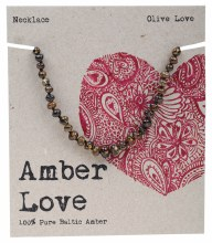 AMBER LOVE -Children's Necklace Baltic Amber - Olive Love 33cm