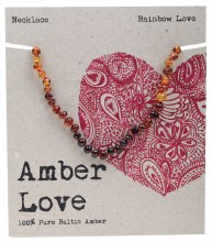 AMBER LOVE -Children's Necklace Baltic Amber - Rainbow Love 33cm