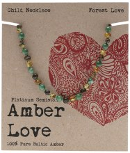 AMBER LOVE -Children's Necklace Baltic Amber - Forest Love 33cm