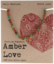 AMBER LOVE -Children's Necklace Baltic Amber - Earth Love 33cm