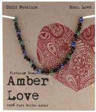 AMBER LOVE -Children's Necklace Baltic Amber - Moon Love 33cm