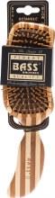 BASS BRUSHES -Bamboo Wood Hair Brush Semi S Shaped 1
