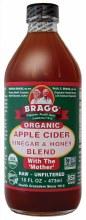 BRAGG -Apple Cider Vinegar & Honey Unpasteurised & Unfiltered 473ml