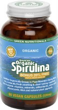 GREEN NUTRITIONALS -Mountain Organic Spirulina Capsules (520mg) - Amber Glass