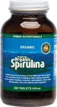 GREEN NUTRITIONALS -Mountain Organic Spirulina Tablets (500mg) - Amber Glass