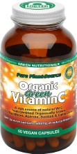 GREEN NUTRITIONALS -Organic Green Vitamin C Capsules (600mg) - Amber Glass