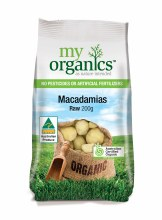 Organic Macadamias Raw 200gm