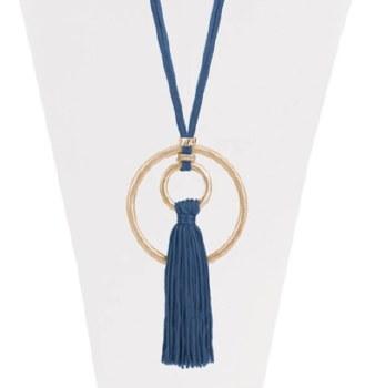 Caracol Silk Tassel Necklace 1369-BLU