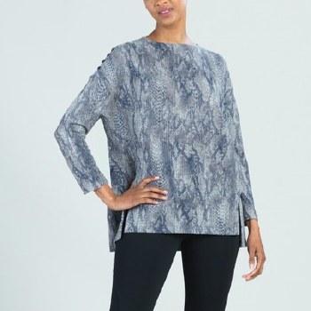 Clara Sunwoo T195WP4 Waffle Knit Python Button Shoulder Sweater Tunic L Python