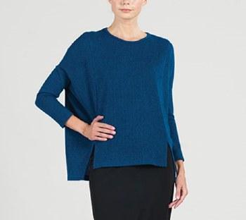Clara Sunwoo Hi-Low Sweater Tunic T199W5 L French Blue