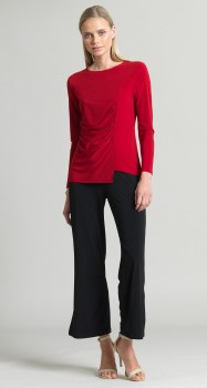 Clara Sunwoo Side Ruched Top T40 M Red