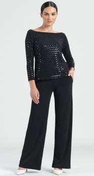 Clara Sunwoo T77S Shimmer Sequin Top  M Black