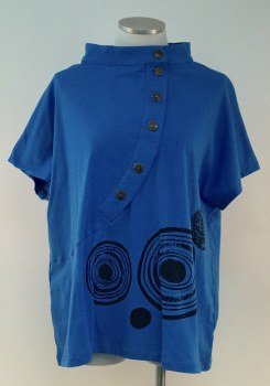 Cupcake COL5-5028-B Capped Sleeve Top L Blue