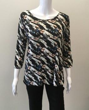Cubism Button Back Shirt 379-13582 Button Back Shirt S Black Print