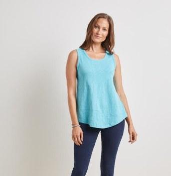 Habitat 27412 Cotton Pebble Shirt Tail Tank L Turquoise