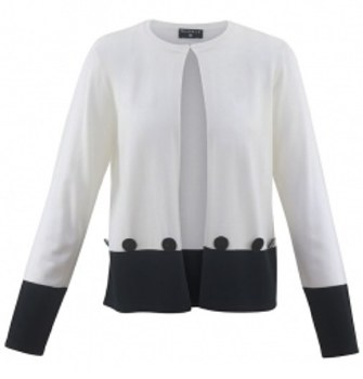 Marble 5594 Two Tone Button Detail Cardigan L White/Navy