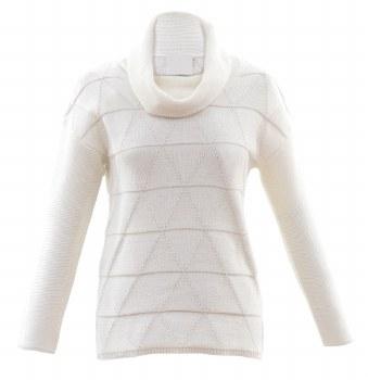 Marble 5870-104 Cowl Neck Sweater L Cream