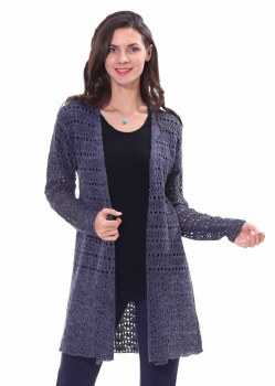 Papa Fashions Long Open Crocheted Cardigan CR2983 L Blue