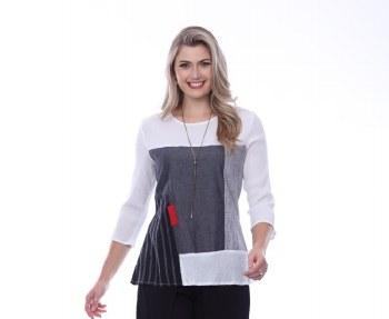 Parsley & Sage 20T09C2 Jan Colorblock Top M Black/Grey/Red/White