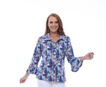 Parsley & Sage 20T50E26 Casey Button Jacket L Blue